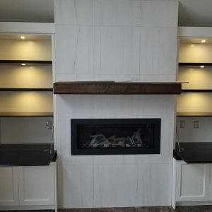 Two tone fireplace cabinetry 2