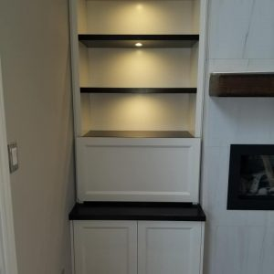 Two tone fireplace cabinetry 4