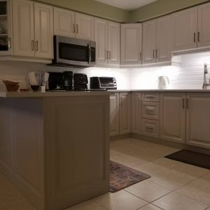 Two tone kitchen with Panasonic pull down 6