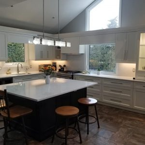 White Dove kitchen with Dark Espresso island